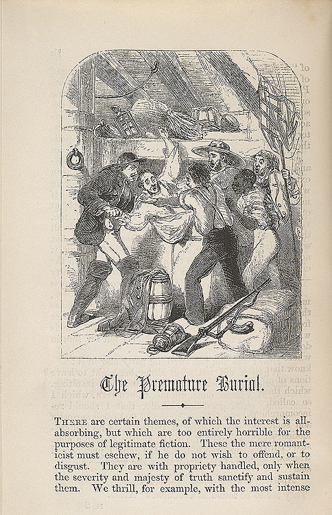 """the motif of premature or concealed burials in the cask of amontillado by edgar allan poe The collected works of edgar allan poe † that """"the cask of amontillado,"""" published in the first issue of usher,"""" and """"the premature burial."""